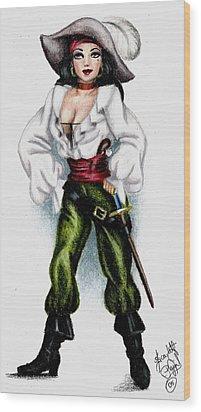 Pirate Wood Print by Scarlett Royal