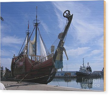 Wood Print featuring the photograph Pirate Ship - Sousse Harbour by Maciek Froncisz