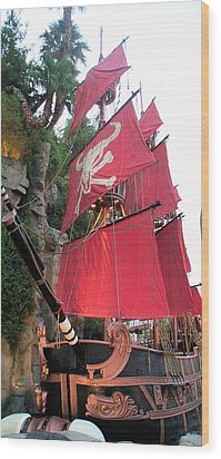 Pirate Ship Wood Print by Alan Espasandin