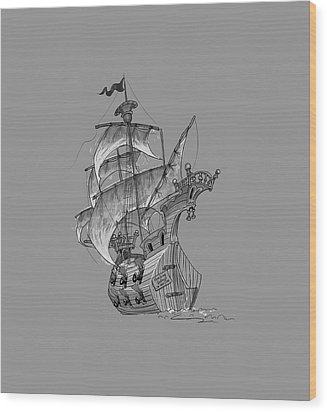 Pirate Ship Wood Print by Andy Catling