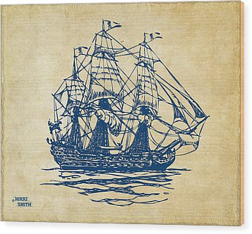 Pirate Ship Artwork - Vintage Wood Print by Nikki Marie Smith