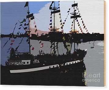 Pirate Ship Wood Print by David Lee Thompson
