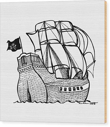 Pirate Ship Wood Print by Karl Addison