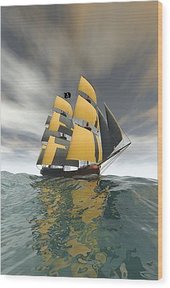 Pirate Ship On The High Seas Wood Print by Carol and Mike Werner