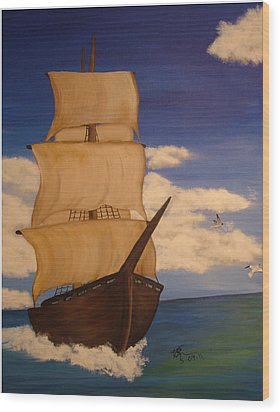 Pirate Ship With Gulls Wood Print by Vickie Roche
