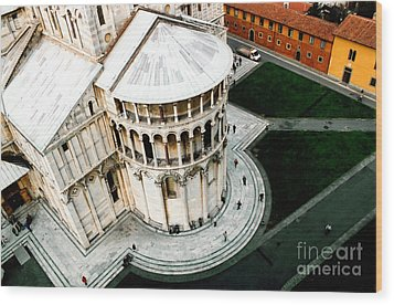 Pisa From Above Wood Print by Linda  Parker