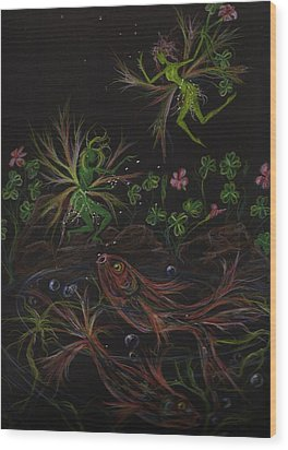 Wood Print featuring the drawing Pisces by Dawn Fairies