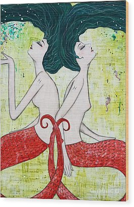 Pisces Mermaids Wood Print by Natalie Briney
