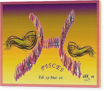 Wood Print featuring the painting Pisces by The Art of Alice Terrill