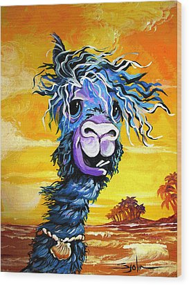 Pisco The Surfing Alpaca Wood Print by Patty Sjolin