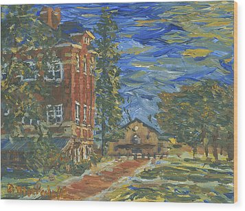 Wood Print featuring the painting Piskor Hall On An August Evening by Denny Morreale
