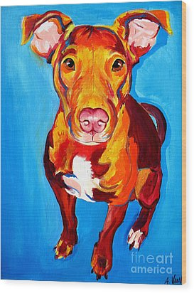Pit Bull - Chino Wood Print by Alicia VanNoy Call