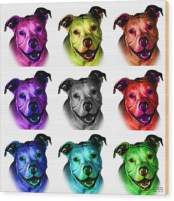 Pitbull Terrier - F - S - Wb - Mosaic Wood Print by James Ahn