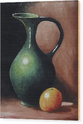 Wood Print featuring the painting Pitcher And Orange by Gene Gregory