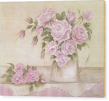 Pitcher Of  Pink Roses  Wood Print