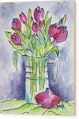Wood Print featuring the painting Pitcher Of Tulips by Pat Katz