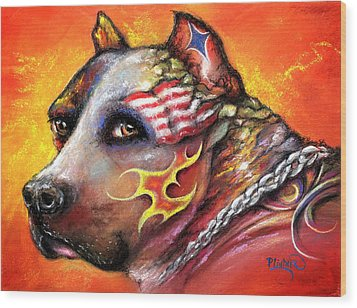 Pit Bull Wood Print by Patricia Lintner
