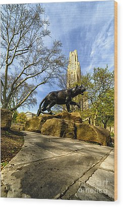 Pitt Panther Cathedral Of Learning Wood Print
