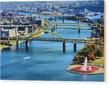 Pittsburgh At The Point Wood Print by Michelle Joseph-Long