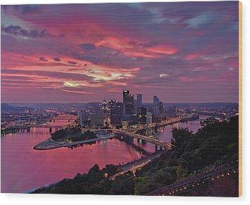 Pittsburgh Dawn Wood Print by Jennifer Grover