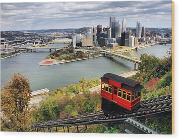Pittsburgh From Incline Wood Print by Michelle Joseph-Long