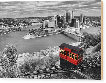 Pittsburgh From The Incline Wood Print by Michelle Joseph-Long