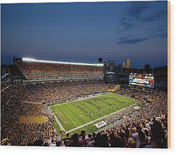 Pittsburgh Heinz Field At Dusk Wood Print by Will Babin