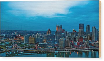 Pittsburgh In Hdr Wood Print by Kayla Kyle