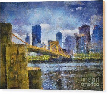 Pittsburgh North Shore Skyline Wood Print by Amy Cicconi