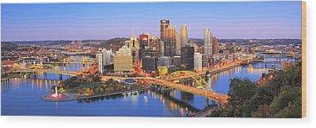 Pittsburgh Pano 22 Wood Print by Emmanuel Panagiotakis