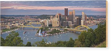 Pittsburgh Pano 23 Wood Print by Emmanuel Panagiotakis