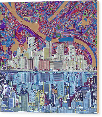 Pittsburgh Skyline Abstract 6 Wood Print