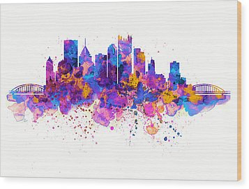 Pittsburgh Skyline Wood Print by Marian Voicu