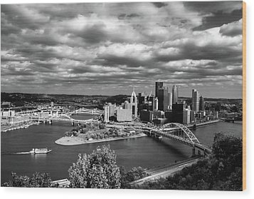 Pittsburgh Skyline With Boat Wood Print by Michelle Joseph-Long