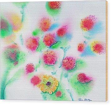 Pixie Flowers Wood Print by Tina Storey