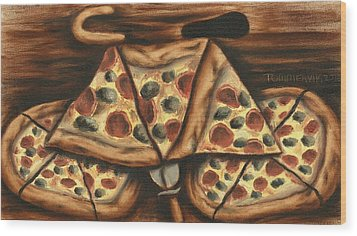 Wood Print featuring the painting Tommervik Pizza Bicycle Art Print by Tommervik