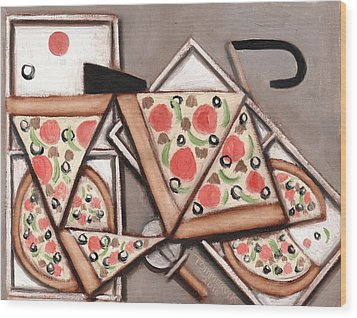 Wood Print featuring the painting Tommervik Pizza Delivery Bicycle Art Print by Tommervik
