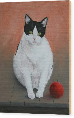 Pj And The Ball Wood Print by Marna Edwards Flavell
