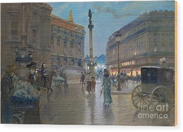 Place De L Opera In Paris Wood Print by Georges Stein
