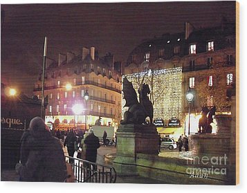 Wood Print featuring the photograph Place Saint-michel by Felipe Adan Lerma