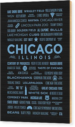Wood Print featuring the digital art Places Of Chicago Blue On Black by Christopher Arndt