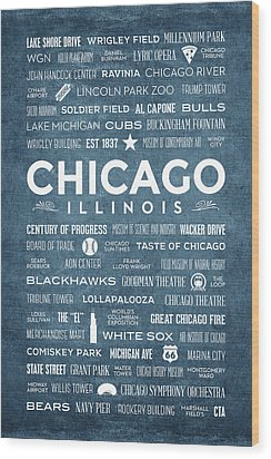 Wood Print featuring the digital art Places Of Chicago On Blue Chalkboard by Christopher Arndt