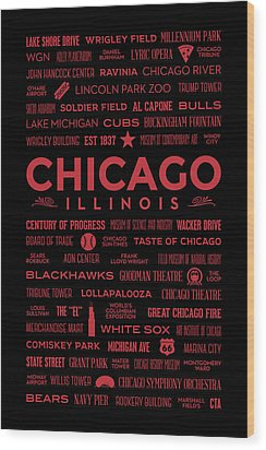 Wood Print featuring the digital art Places Of Chicago On Red On Black by Christopher Arndt