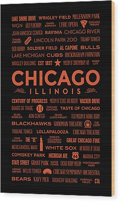 Wood Print featuring the digital art Places Of Chicago Orange On Black by Christopher Arndt