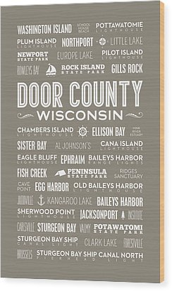 Wood Print featuring the digital art Places Of Door County On Brown by Christopher Arndt