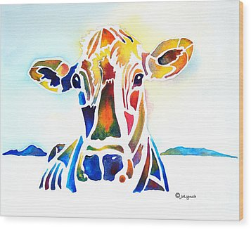 Placid The Cow Wood Print by Jo Lynch