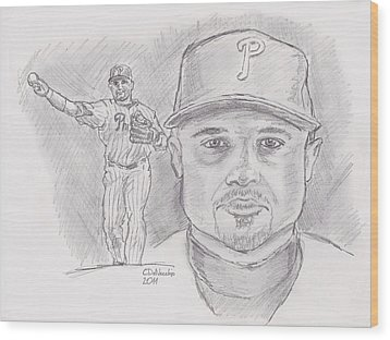 Wood Print featuring the drawing Placido Polanco Polly by Chris  DelVecchio