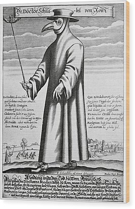 Plague Doctor, 17th Century Artwork Wood Print by
