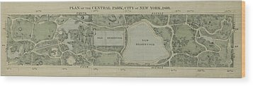Wood Print featuring the photograph Plan Of Central Park City Of New York 1860 by Duncan Pearson