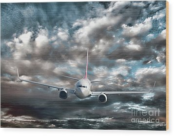 Plane In Storm Wood Print by Olivier Le Queinec